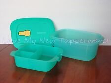 Tupperware Crystalwave Lunch Box Divided Tray On the Go Microwave Safe Teal New