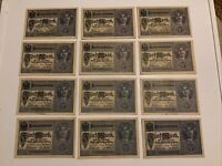 Lot Of 12 X German Banknotes. 5 Mark. Dated 1917. P56. Vintage Set.