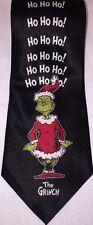 Vtg Dr Suess HOW THE GRINCH STOLE CHRISTMAS Mens Neck Tie Santa Ho Ho Ho Black
