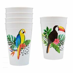 Multi Pack Reusable Plastic Tumblers Tropical Parrot Design Summer Party Picnic