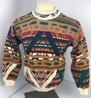 90s Vtg COOGI Australia NEON-BIGGIE-MCGREGOR Cardigan sweater FIRE S Wool AZTEC