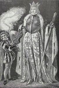 Isabelle Ire de Castille dite Isabelle la Catholique gravure vers 1890 L Flameng