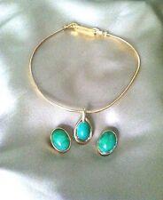 Jomaz Mazer Translucent Green Cabochon & Gold Tone Necklace & Clip Earring Set
