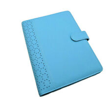 6 Ring Medium A6 Leather Perforated Planner Iced Blue Kikki K Style Unbranded