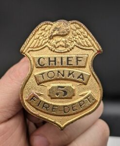 Vintage TONKA toy - TONKA CHIEF FIRE DEPT. #5 BADGE - OBSOLETE