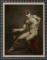 "Hand-painted original Oil painting art boy male nude on canvas 24""x36"""