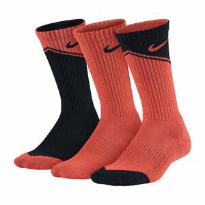 New Nike Kids Boys Socks 3-Pairs Graphic Cotton Cushion Shoe Size 3Y-5Y
