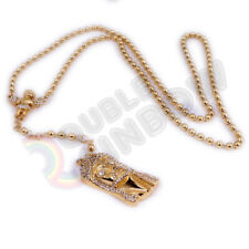 """18-32/""""MEN Stainless Steel 3mm Gold Cuban Curb Chain Necklace ANGEL Pendant*GP48"""