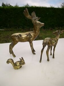 Brass Stag Deer with Doe Fawn and Rabbit, Vintage Solid Brass Model.