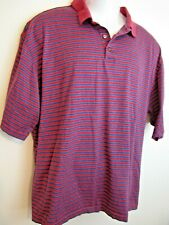 Bolle Golf Mens Polo Shirt Red With Blue Stripes Logo on Top Back