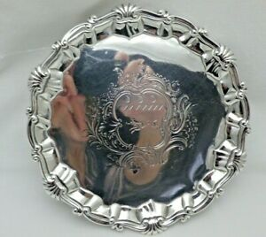 Antique Georgian 1796 Solid Sterling Silver Round Salver Tray on Three Feet VEL