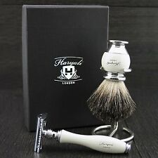 DE SAFETY RAZOR WITH PURE BADGER HAIR SHAVING BRUSH  & STEEL HOLDER /STAND