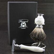 Máquina de afeitar con pura de pelo de tejón brocha de afeitar & Soporte De Acero/stand
