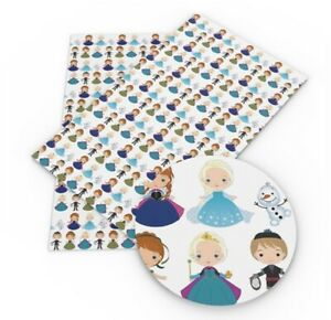 Frozen Ana Elsa Disney Faux Leather Sheets Printed Leather A4 Vinyl Fabric Sheet
