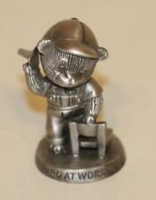 1983 Avon Fine Pewter Figurine Hard at Work Bear on Chair with Paper Airplane