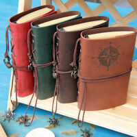 Vintage Retro PU Leather Bound Blank Page Notebook Note Notepad Journal Diary