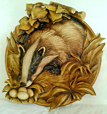 Carved Wooden Plate Badger nature 3d effect Beautiful details incredible gift