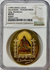 1999 Israel Gold 45x36mm Tangier Bride Medal NGC MS-66