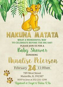 Lion King Baby Shower Invitation, Lion King, Baby Shower, Party, Invitation