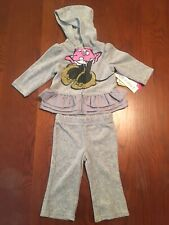 Disney Baby Girl 3-6 Months Minnie Mouse 2 Piece Outfit Grey Pink Gold Ruffle Nw
