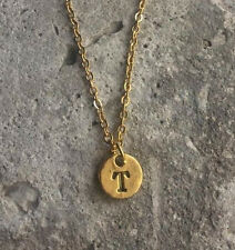"Celebrity Trend Petite Gold Disc "" T "" Letter Initial Pendant Necklace 18"" chain"