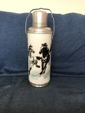 Vintage Old China Huge 15� Aluminum Thermos Flask Asian Horse Design W/Cork