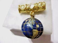 Pin New Old Stock Gemstone Globe Map World Fancy Bar Dangle Charm Contemporary