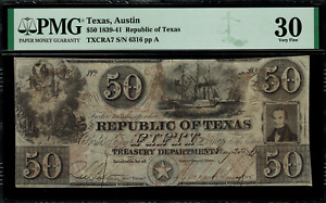 1839-41 $50 Obsolete - Austin, Texas - Republic of Texas - Graded PMG 30