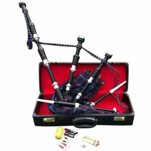 HM Great Highland Bagpipe Black Silver/Highland Bagpipe Rosewood Finish, Reeds