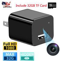 HD 1080P Hidden Mini Camera 32GB Wall Charger USA Plug Adapter Usb Nanny Cam DVR