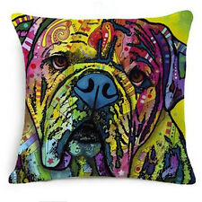 English Bull Dog Throw Pillow Bright Colorful ANIMAL RESCUE DONATION