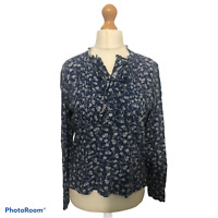 Laura Ashley Archive Floral Ditsy Frill Blouse Blue Long Sleeve Buttons Size 12