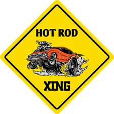 "*Aluminum* Hot Rod Crossing Funny Metal Novelty Sign 12""x12"""