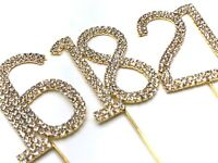 Gold 4.5cm Cake Pick Topper Diamante Rhinestone Birthday Anniversary