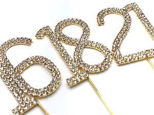 Gold 4.5cm Cake Pick Topper Diamante Rhinestone Birthday Anniversary
