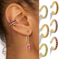 6Pcs/Set Womens Rhinestone Ear Cuff Wrap Earrings No Piercing Clip On Ear Clips
