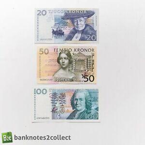SWEDEN: Set of 3 Swedish Krona Banknotes.