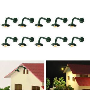 10pcs Model Hanging Lamp 1:87 Outdoor Wall Goose Neck Light HO Scale Warm LED