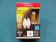 Sunbeam 4W/40Watt LED Dimmable Decorative Candle Bulb, B12 Medium Base * 2 Pack