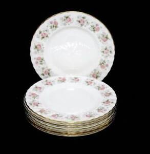 Vintage Minton Spring Bouquet Fife shape set of 8 entree plates pink roses