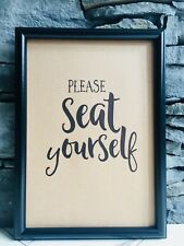 FRAMED RECYCLED PAGE FUNNY BATHROOM WALL PRINT PICTURE - PLEASE SEAT YOURSELF