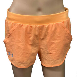 Under Armour HeatGear Ladies Fly By Embossed Orange Sports Running Mini Shorts S