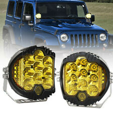 2X 5 Inch 50W LED Light Pods Combo Beam Yellow Driving Work Lamp Offroad 4WD Car