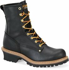 "Men's Carolina Boots CA1825 8"" Logger Safety Steel Toe Work Boot Black Leather D"