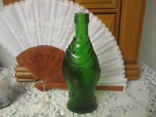 "Fish Bottle Green Glass Vintage Antinori Screw Top Small Pint 8"" Tall"