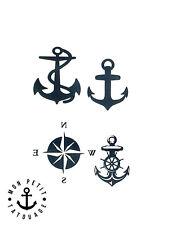 ►► Tatouage Temporaire Ephèmère Ancre Marine Boussole Rose des vents 4 Motifs