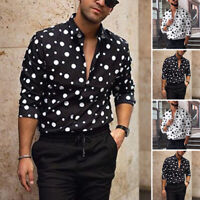 Men Retro Shirts Polka Dot Long Sleeve Casual Tops Tee Formal Blouse Button Down