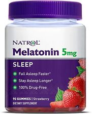 Natrol Melatonin 5mg Gummies, Strawberry Flavor, 90 Count!   Exp: FEB 2021