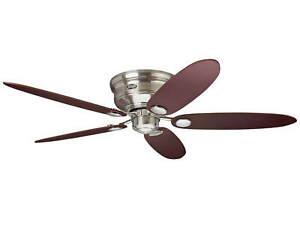 "Flush mount ceiling fan Hunter Low Profile Brushed Chrome 112cm 44"" & 132cm 52"""