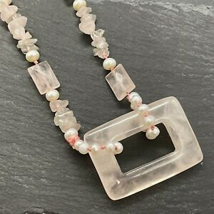 """Vintage Southwestern Style Rose Quartz Necklace with Pearls 28"""""""